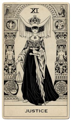"Sveta Dorosheva - A set of Tarot cards commissioned by Capitol Records for Halsey's ""Hopeless Fountain Kingdom"" - Justice"