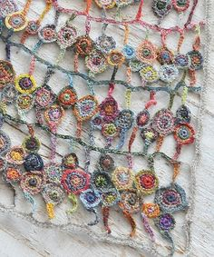 Crochet Scarf Design sophie digard - Bing Images This would be awesome hanging in a small window! Especially using some metallic thread and a few beads to pick up the light! Freeform Crochet, Crochet Art, Love Crochet, Irish Crochet, Beautiful Crochet, Crochet Shawl, Crochet Flowers, Crochet Stitches, Crochet Designs