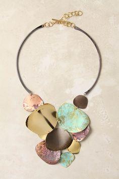 melded metals necklace - anthropologie via Flights of Fancy Clay Jewelry, Metal Jewelry, Jewelry Art, Jewelry Accessories, Jewelry Design, Fashion Jewelry, Jewellery, Metal Necklaces, Jewelry Necklaces