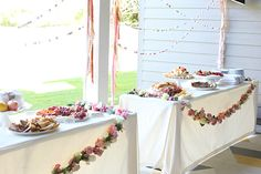 floral and pop-pom garland