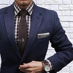 Follow @Mensdailypost Marine Gent  Navy Herringbone suit plaid shirt brown tie floral pocket square cc @thedapperjuan by style4guys