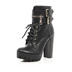 River Island Womens Black zip trim lace up platform boots from River Island Clothing. Saved to Shoes. Lace Up Heel Boots, Leather Lace Up Boots, Platform Ankle Boots, Ankle Strap Shoes, Leather Heels, Heeled Boots, Shoe Boots, Ankle Booties, Chunky Combat Boots