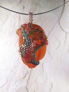 recycled glass pendant  #freeform #beadwork