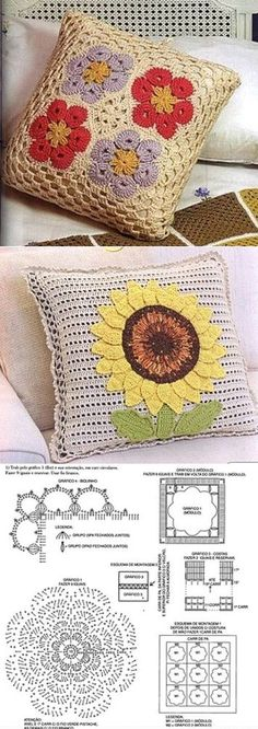 Knitted cushion a hook from motives Crochet Cushion Pattern, Crochet Pillow Cases, Crochet Cushion Cover, Crochet Motif, Crochet Doilies, Crochet Flowers, Crochet Fabric, Crochet Home, Love Crochet