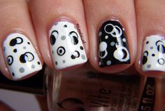 dots - black & white nail art ideas