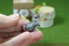 OOAK Dollhouse Miniature Bunny Rabbit Grey and White Handflocked 1:12 #Handmade