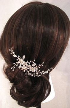 Freshwater Pearls, Crystal Rhinestone Flowers and Leaves in Settings, Swarovski crystals, Soft wire hand wrap twisted into hair comb -$69.00