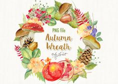 Autumn Wreath Watercolor by helloPAPER on @creativemarket