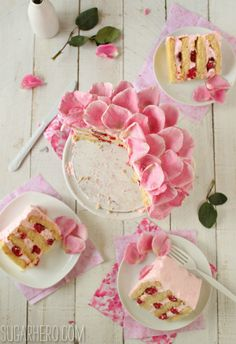 Raspberry Rose Cake - light and fluffy cake with rose whipped cream and fresh… Cupcakes, Cupcake Cakes, Cake Recipes, Dessert Recipes, Desserts, Dessert Ideas, Cake Ideas, Baking Recipes, Beautiful Cakes