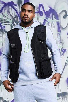 Black Men Street Fashion, Big Men Fashion, Guy Outfits, Fashion Outfits, Military Vest, Black Man, Big & Tall, Clothing Ideas, Boohoo
