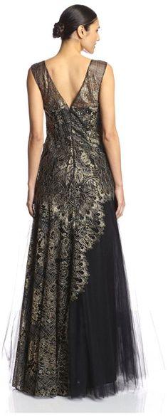 Marchesa Notte Women's Metallic Lace Gown: Amazon Fashion