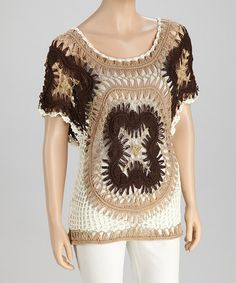 Take a look at this Brown & Beige Crocheted Scoop Neck Top by SR Fashions on #zulily today!