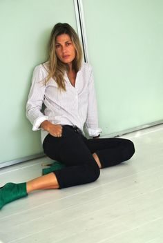 Natalie Hartley wears... // casual chic striped shirt and green booties style