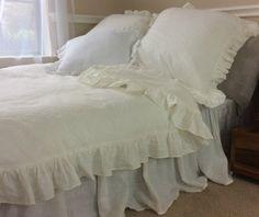 New to CustomLinensHandmade on Etsy: White Linen ruffle duvet cover linen bedding ruffle bedding shabby chic available queen linen king linen bedding (257.00 USD)