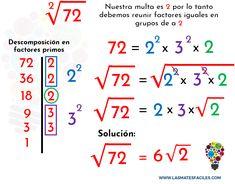 Reducción o simplificación de raíces – Mates Fáciles Teaching Multiplication, Math Vocabulary, Math Fractions, Class 12 Maths, Math Tutor, Mathematics Geometry, Math Boards, Montessori Math, Math School