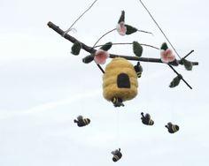 Felted Honey Bee Mobile in Wool for Baby Nursery door SewnNatural