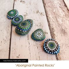Painted Stones / Forest  Set of 5 Painted Rocks / Aboriginal Dot Art  / Acrylic Painting / ornaments / paper weights / green decor