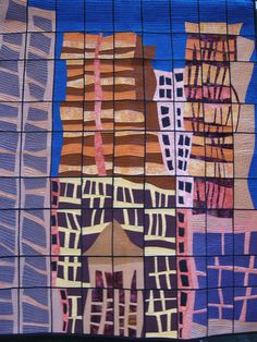 Hong Kong Reflections - Greta Fitchett  Designed on squared paper, free cut patchwork, bonded applique, pieced grid and linear quilting, machine stitched  Reflections and distortions in a glass curtain wall building, depicting modern buildings in Hong Kong