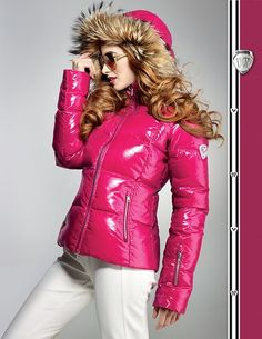 Downjacket fashion: Girl in shiny pink Rosignol down jacket!