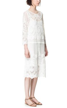Image 1 of LONG LACE DRESS from Zara