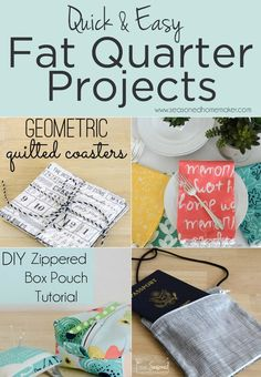 Fat Quarters are ideal for small sewing projects. All you need are a few fat quarters and the ability to sew a straight stitch. Check out these easy DIY Sewing Projects made from fat quarters. #fatquarterprojects #sewingtips #sewing