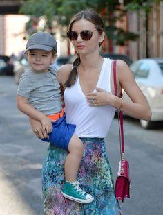 Miranda Kerr's Sweet Baby Looks like dad Orlando Bloom, baby and mom- effortless style #Refinery29