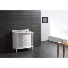 Shop Ove Decors White Undermount Single Sink Bathroom Vanity with Natural Marble Top (Common: 36-in x 22-in; Actual: 36-in x 22-in) at Lowes.com
