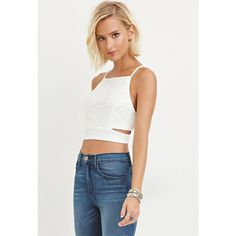 Forever 21 Women's  Crochet Cropped Cami ($16) ❤ liked on Polyvore featuring tops, cropped cami, forever 21, cropped camisole, white camisole and crochet cami