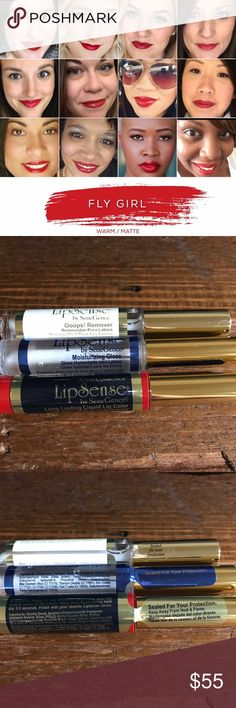 LipSense Fly Girl Kit Lip color that actually stays on all day without being dry or chalky! The liquid bonds to your lips and the gloss seals it all in. If you are new to LipSense you need the full kit. Detailed instructions will come with the kit as application technique is important for how well it works. For more info join my FB group, Amy's All Day Lips. If you already have these products and only want the color, please leave a comment and I will change the product description and price…
