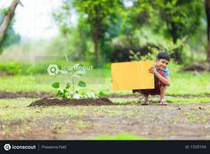boy sitting in farm and holding yellow board Photo Agriculture Photos, 3d Assets, Icon Pack, Photo Illustration, Free Design, Vector Free, Hold On, Animation, Yellow