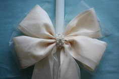 Ivory Satin Double Bow Lambatha, $202.50 at the Greek Wedding Shop ~ http://www.greekweddingshop.com/