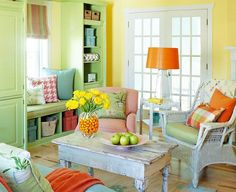 Fun and colourful living room to relax in.  Very bright and citrus looking