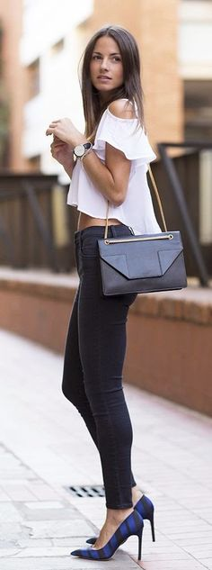 Street style striped heels and vaporous crop top