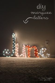 DIY Marquee Letters Of Cardboard | Shelterness Love these letters, so cute & easy to do!