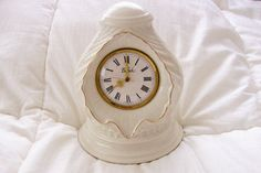 Vintage Belleek China Mantle Clock  Purchased by GiftsFromFlutters