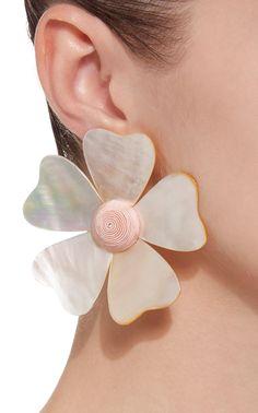 Mother Of Pearl Flower Earrings by REBECCA DE RAVENEL Now Available on Moda Operandi