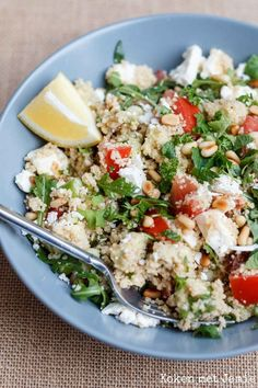 Couscous salad with avocado & feta - Cooking with Jamie - Couscous salad with avocado & feta – Cooking with Jamie - Couscous Recipes, Healthy Pasta Recipes, Pureed Food Recipes, Veggie Recipes, Vegetarian Recipes, Cooking Couscous, I Love Food, Good Food, Gourmet