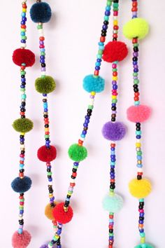 2 Sets Colorful Pompoms Beads Tassel Mobile by MangkudHandmade