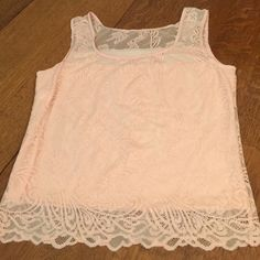 "Pink sleeveless lace top  Pink sleeveless lace top has inner lining. Very girly! See fabric/care pic 4.  Bust 17.5 length 21""  WG Tops"