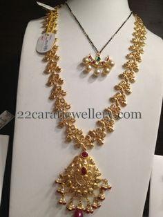 Jewellery Designs: Black Beads and Uncut Diamonds Sets