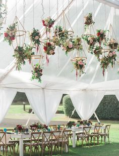 hanging geometric floral installation for a boho chic wedding