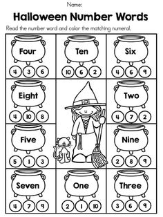 Halloween Number Words >> Part of the Halloween Kindergarten Math Worksheets Packet