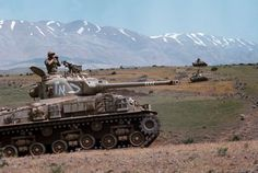 June 7, 1967 - Syria - Israeli tanks advance into Syria during the Six-Day War. By June 10, when the fighting was halted, Israel controlled the entire Sinai Peninsula and all Jordanian territory west of the River Jordan, as well as the strategic Golan Heights of Syria. --- Image by © Vittoriano Rastelli/CORBIS