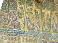 Arte Omeya. Detalle de los mosaicos del interior de la mezquita de Damasco. Con tema de arquitecturas, árboles y ríos.