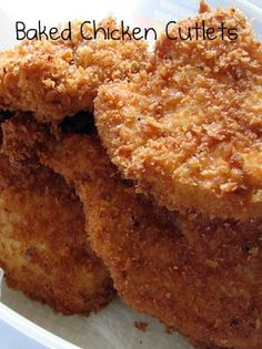 A Lot About Food!: Chicken Cutlets (Baked, not Fried) A Lot About Food!: Chicken Cutlets (Baked, not Fried) Chicken Cutlet Recipes, Cutlets Recipes, Catfish Recipes, Baked Breaded Chicken Cutlets, Healthy Breaded Chicken, Creamy Chicken, Grilled Chicken, Oven Chicken, Chicken Pasta