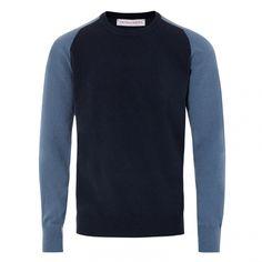 Fabian - Lambswool Knit - True Blue/Grey Steel/Ink Blue