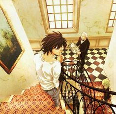 L Watari and Mello - Wammy's House Also Matt is following Mello up the stairs and Near is in the background on a balcony.