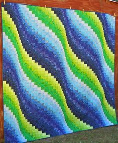 """Surf song, made from the pattern in Eileen Wright's book """"Twist and turn Bargello Quilts"""""""