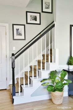 Painted Staircase Makeover with Seagrass Stair Runner. This popular tutorial will walk you through step by step! #staircase #stairrunner #DIY #sandandsisal #seagrass