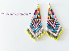 Fringe Earrings / Colorful Earrings / Patchwork by enchantedbloom